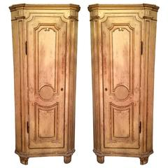 Pair of 18th Century Italian Painted Corner Cupboards