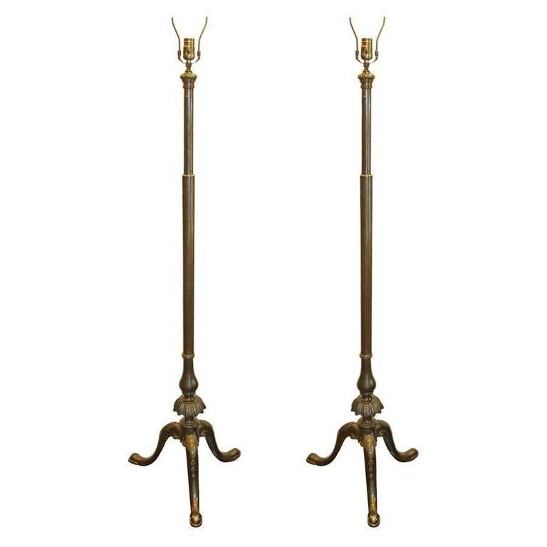 Pair of Bronze Neoclassic Bronze Floor Lamps