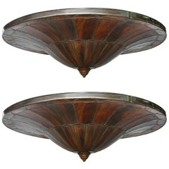 Pair of Large Leaded Glass Light Fixtures