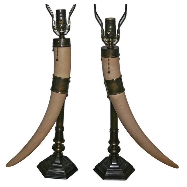 Pair of Tusk Shaped Table Lamps