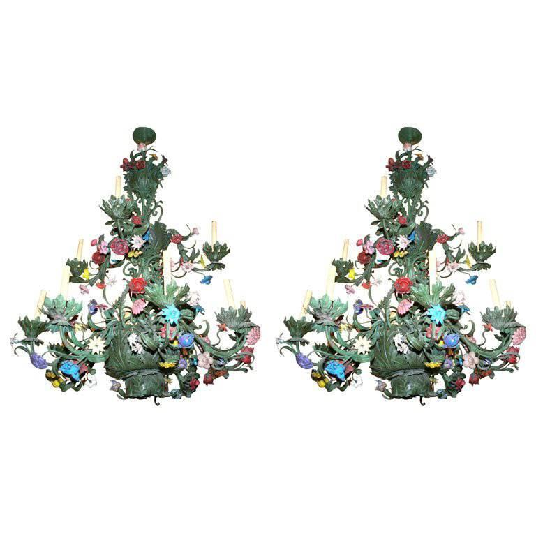 Pair of Painted Tole Chandeliers