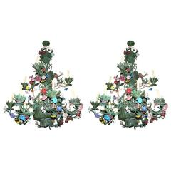Pair of Venetian Painted Tole Chandeliers
