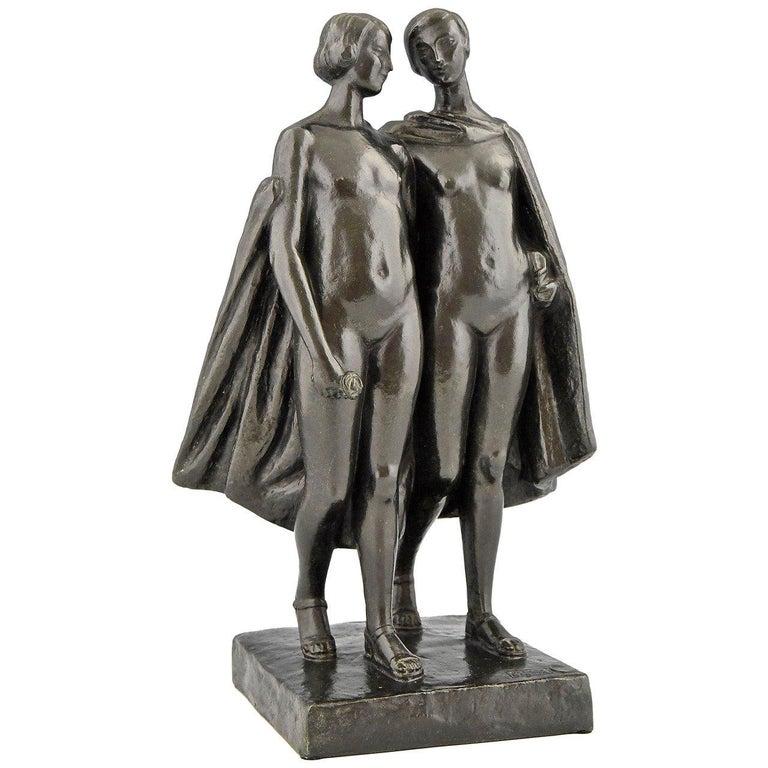 Art Deco Bronze Sculpture of Two Nudes by Pierre Lenoir, 1930, France