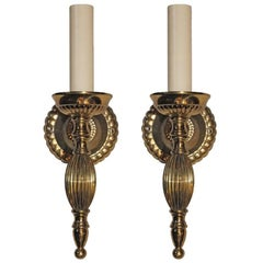 Set of 18 Gilt Double Light Metal Sconces