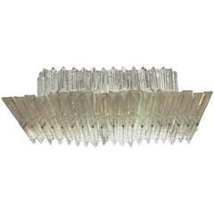 Exceptional Venini Glass Rectangular Flush Mount Ceiling Light