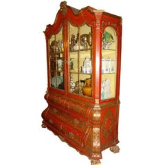 Italian Red and Giltwood Cabinet