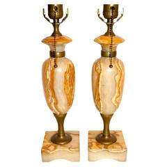 Carved Onyx Table Lamps