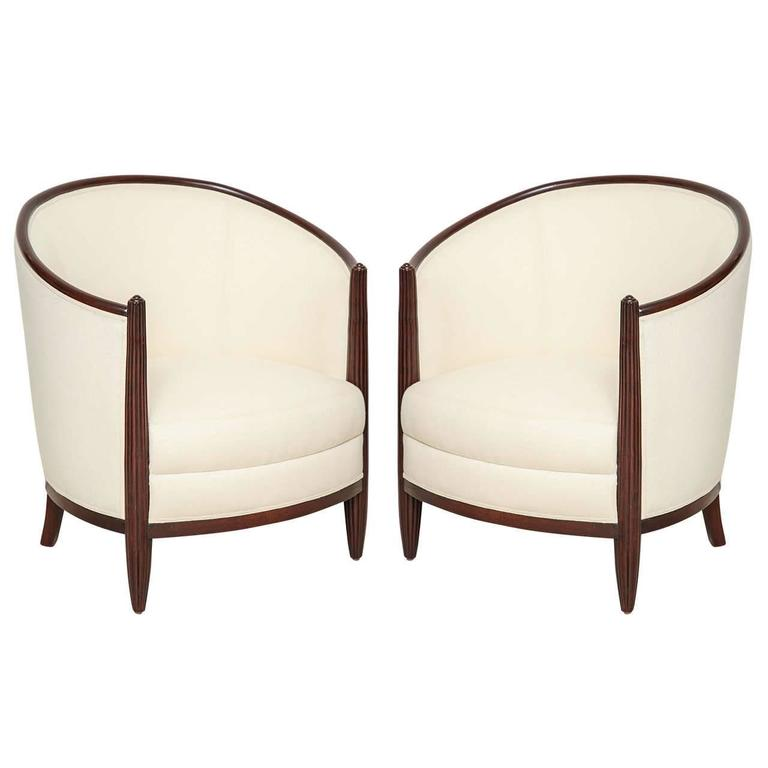 Superbe Pair Of French Mahogany Art Deco Upholstered Club Chairs, Circa 1930 For  Sale