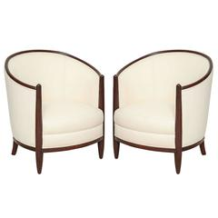 Pair of French Mahogany Art Deco Upholstered Club Chairs, circa 1930