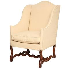 """18th Century French """"OS De Mouton"""" Upholstered Walnut Wing Chair"""