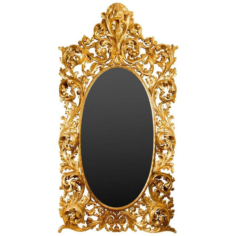 large rococo style giltwood gesso mirror for sale at 1stdibs