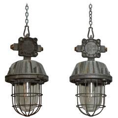 Pair of Vintage Industrial Lights
