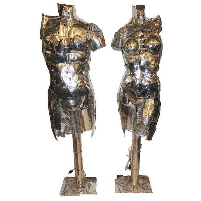 Sculptural Nickel-Plated Floor Lamps