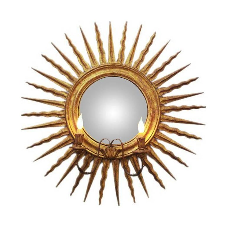 Italian Wall Mirror and Sconce For Sale
