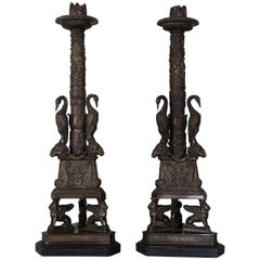 Pair of Gilt Bronze Candlesticks of Neoclassical Form