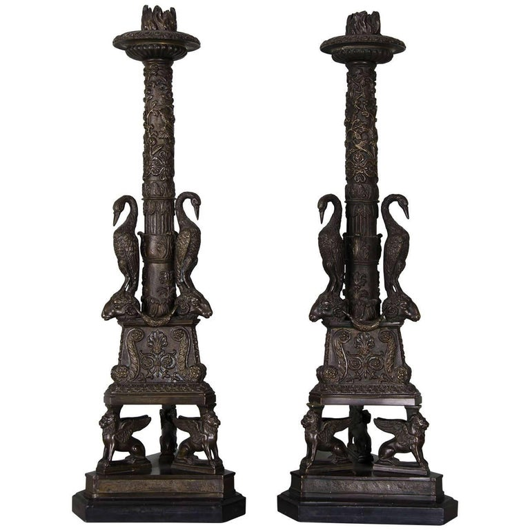 Pair of Gilt Bronze Candlesticks of Neoclassical Form For Sale