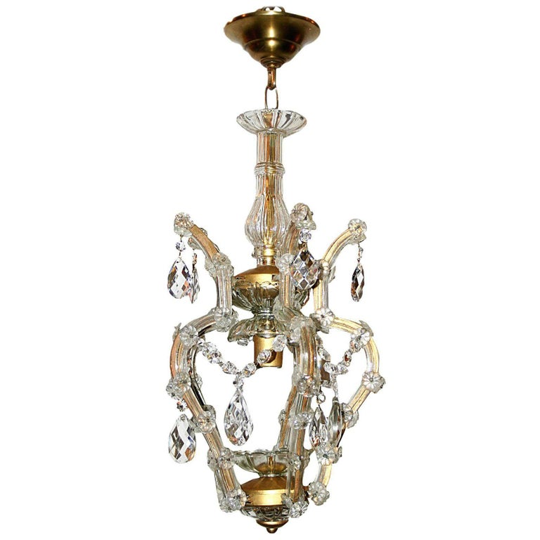 Set of Three Chandeliers with Crystal Drops