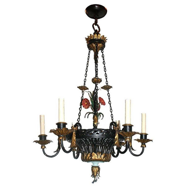 Painted and Gilt Tole Flower Basket Chandelier