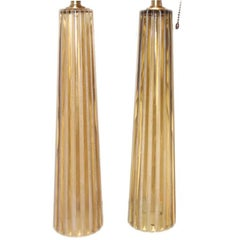 Pair of Amber Moderne Table Lamps