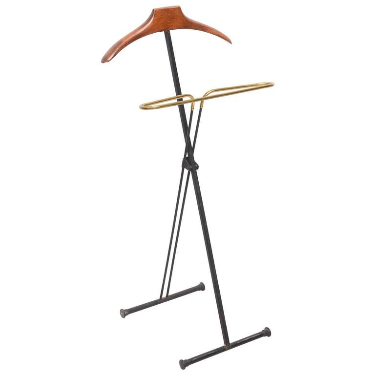 Mid-Century Modern French Wood and Brass Men's Valet Stand, Coat Stand For Sale