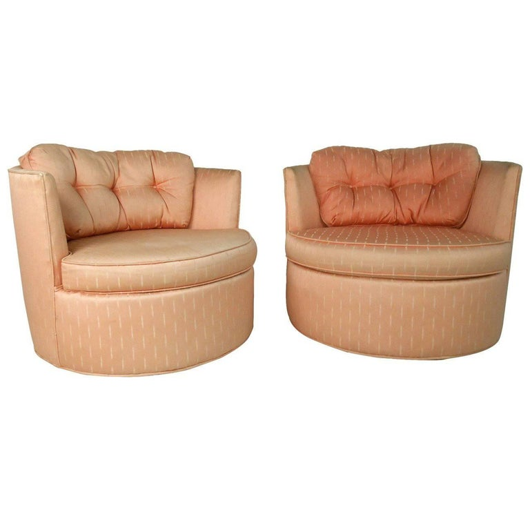 Pair of Vintage Modern Barrel Back Swivel Chairs