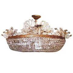 Large Gilt Metal and Crystal Chandelier