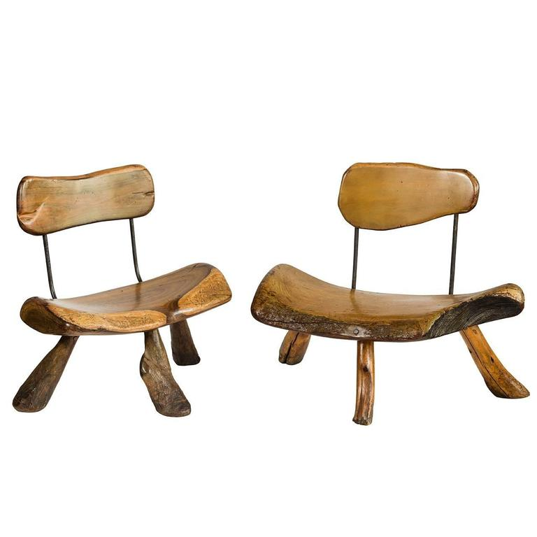 Handmade wood and iron chairs For Sale