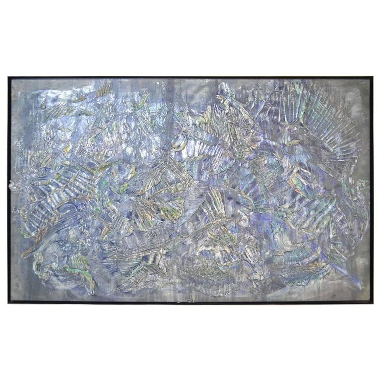 roy lerner tears of the moon large textured acrylic abstract on