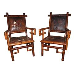 Pair of 19th Century Bamboo Armchairs