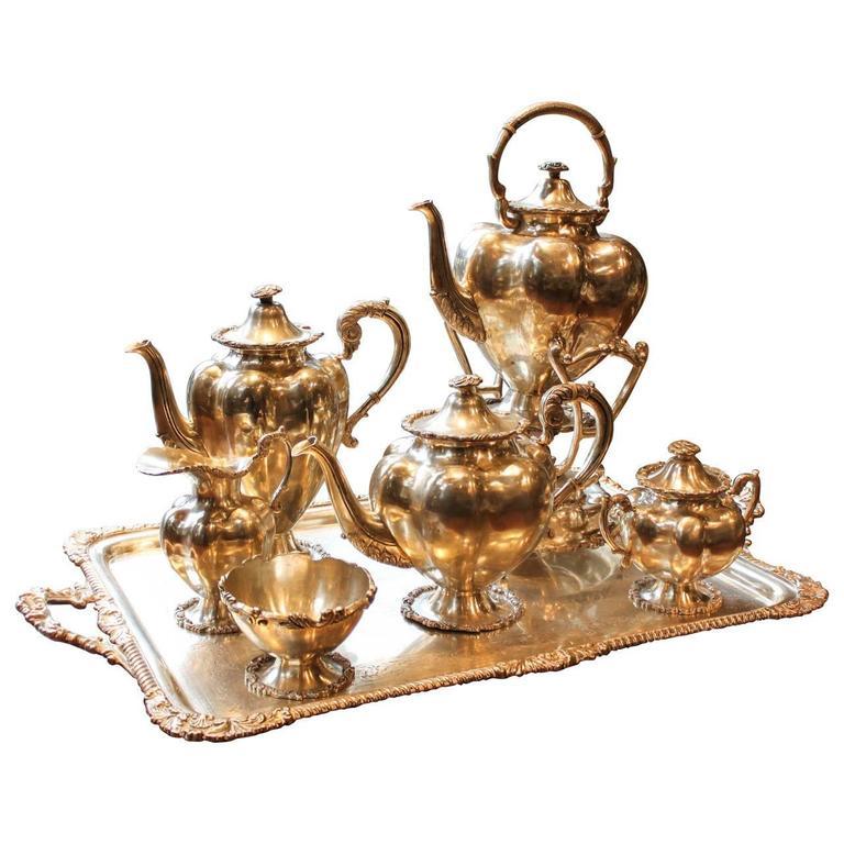 Persian Silver Tea Set Eight Pieces At 1stdibs