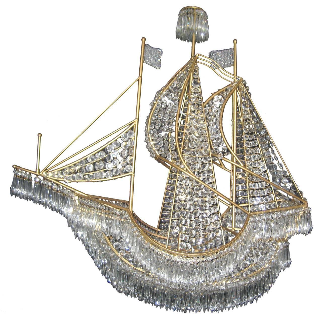 Boat chandelier campernel designs large italian gilt bronze and crystal boat chandelier at 1stdibs arubaitofo Choice Image