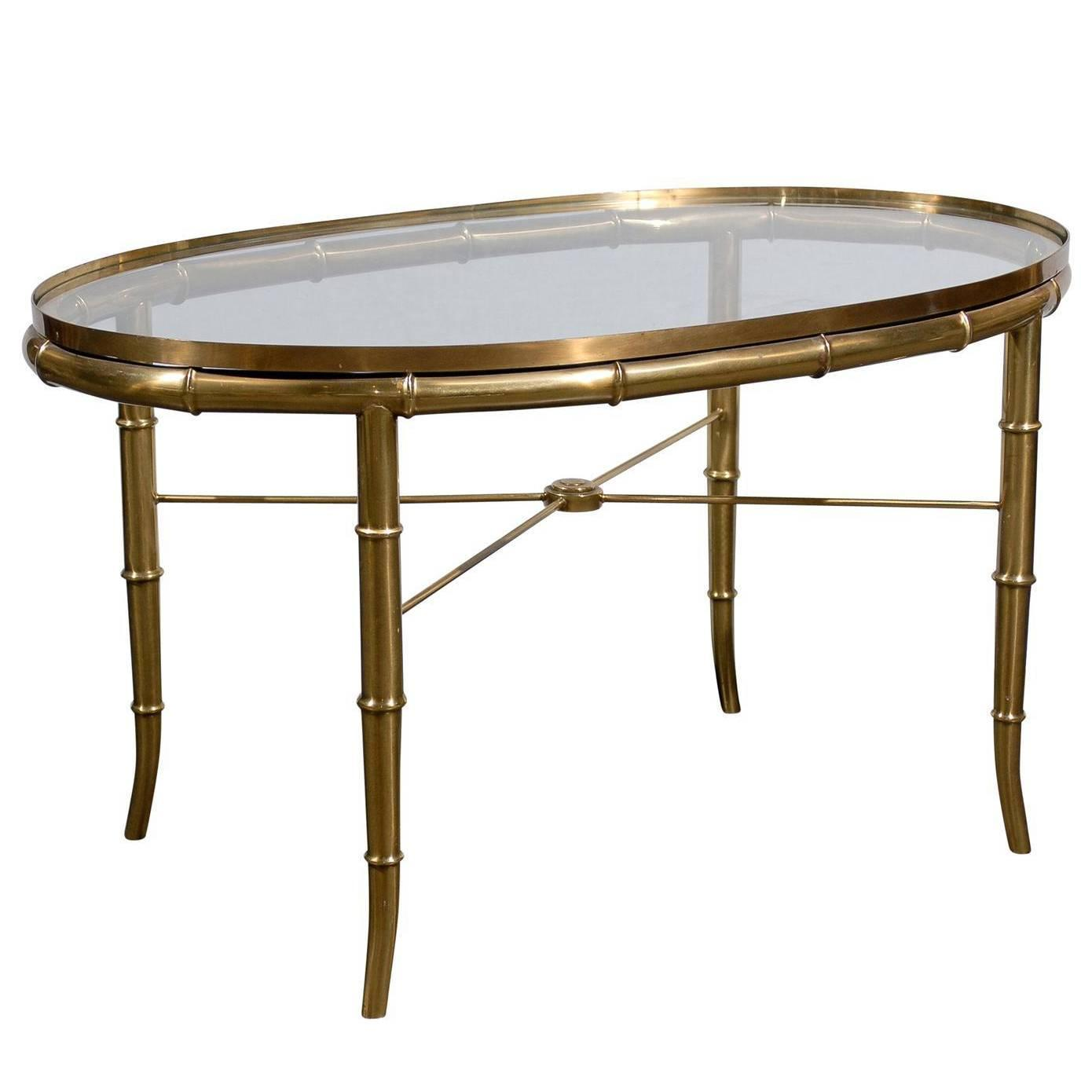 Oval brass glass top cocktail or coffee table at 1stdibs for Oval glass coffee table