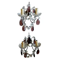 Two French 19th Century Metal with Clear and Colored Crystal Sconces