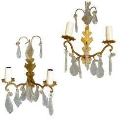Pair of French 19th Century Gold Painted Metal and Crystal Sconces