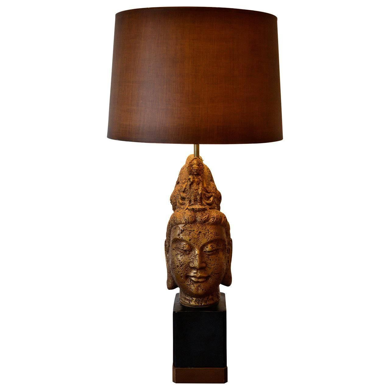 Large Buddha Head Table Lamp in the Style of James Mont, 1960's