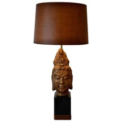 Buddha Head Table Lamp in the Manner of James Mont, 1960s