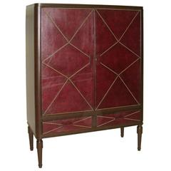 French Mid-Century Modern Studded Leather Cabinet, Style of Jacques Adnet, 1930