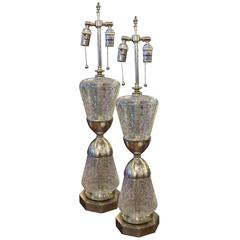 1950s French Pair of Crackled Glass, Nickeled Brass Lamps with Two Sockets
