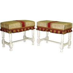 Pair of Italian 1940s Modern Traditional Stools or Benches