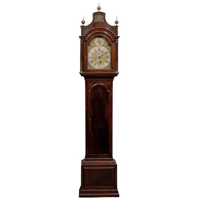 18th Century English Mahogany Tall Case Clock with Brass and Steel Face