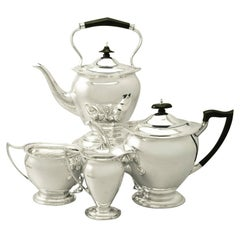 Sterling Silver Four-Piece Tea Service, Antique George V