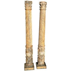 Pair of 17th Century Spanish Wooden Columns