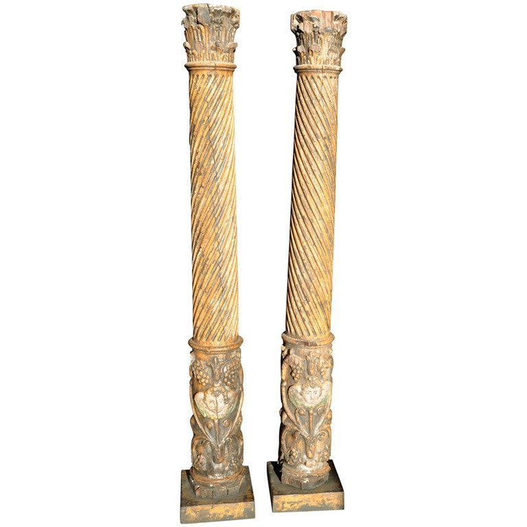 Pair of 17th Century Spanish Wooden Columns