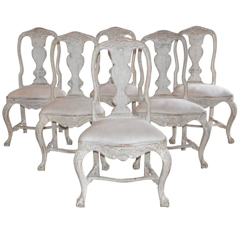 Set of Six Swedish Rococo Style Chairs For Sale