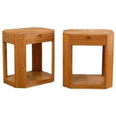Divine Restored Pair of Vintage Split Bamboo End Tables, circa 1975