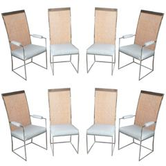 Set of Eight Milo Baughman Chrome and Cane Back Dining Chairs