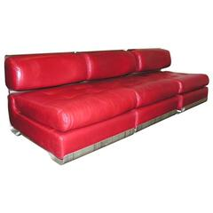 Custom Leather and Metal Three-Seat Sofa