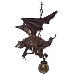 Patinated Metal Dragon Light Fixture