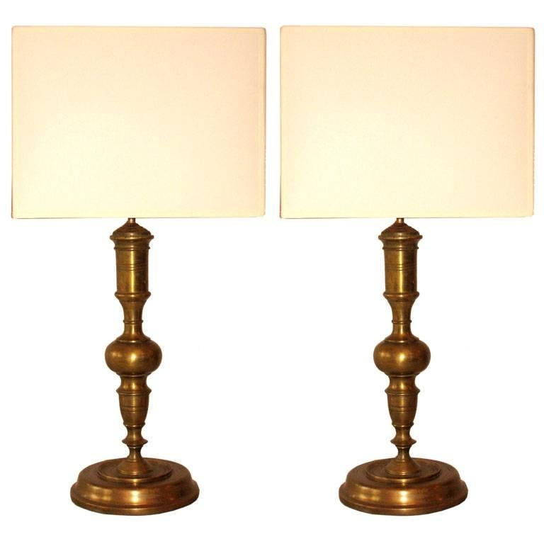 Pair French Mid-Century Modern Neoclassical Gilt Bronze /Solid Brass Table Lamps