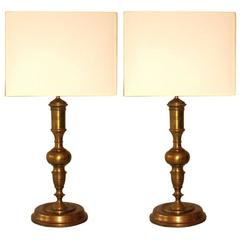 Pair of French Solid Bronze Table Lamps